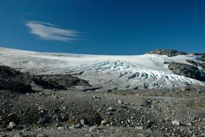 Blåisen på Hardangerjøkulen i September 2009. Foto: Ellen Viste (CC)